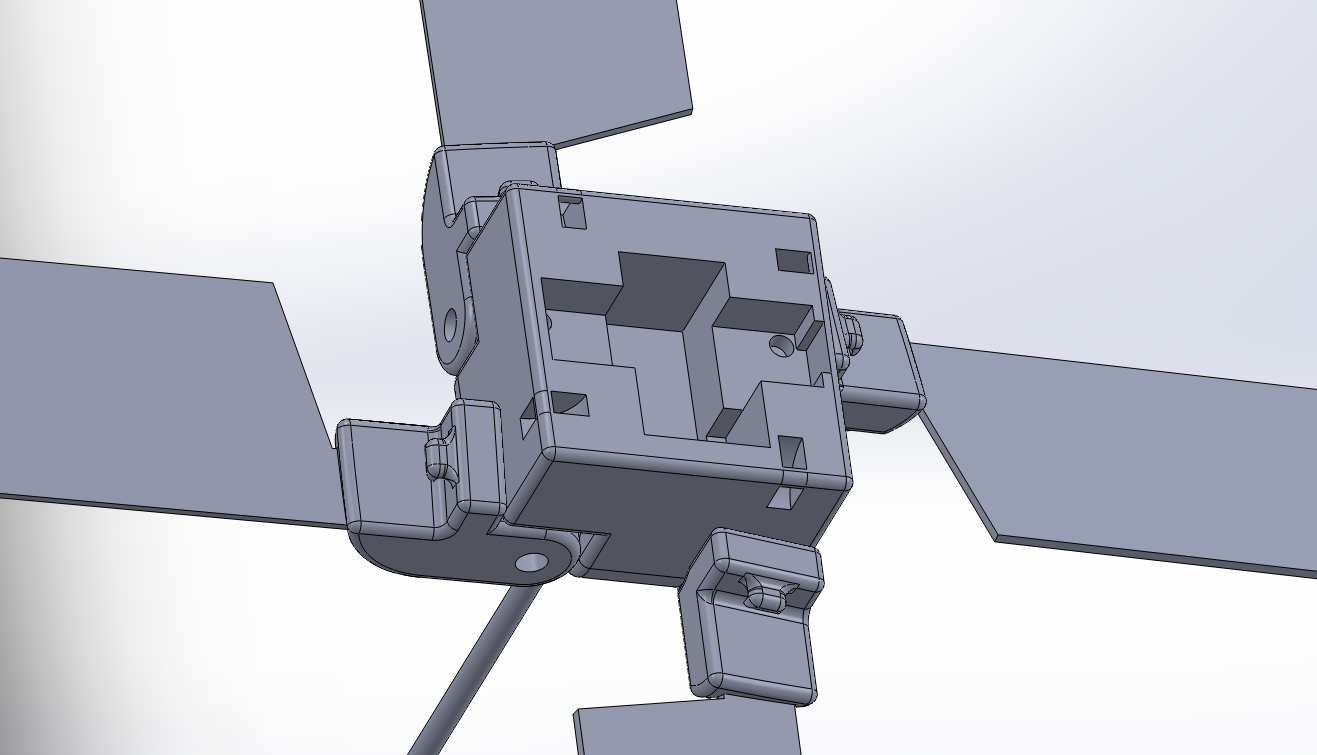 The rotor head, viewed from the top in SolidWorks